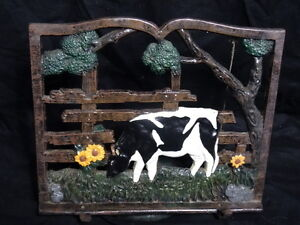Vintage Style Hand Painted Heavy Cast Iron Farm Cow Doorstop Bell Book Stand