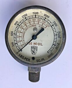 Vintage Reco Brass Gauge 0 220 Psi Made In Usa Steampunk Restoration Art