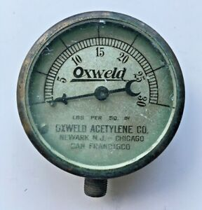 Vintage Oxweld Acetylene Co Gauge 0 30 Psi Made In Usa Steampunk Restoration Art