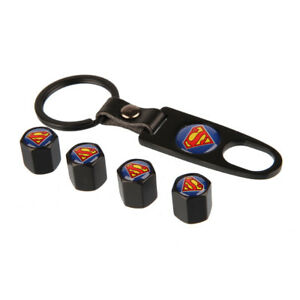 Black Wheel Tire Valve Air Dust Caps Cover Keychain Universal Superman Emblem