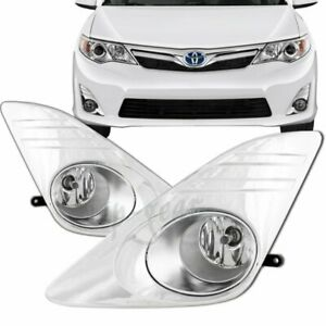 For 2012 2014 Toyota Camry Chrome Housing Fog Clear Lens Driving Lights Cover