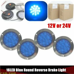 4x Blue 4 16led Round Reverse Brake Turn Signal Rear Truck Tail Light Trailer