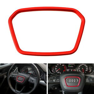 Red Wheel Center Decoration Ring Cover Trim For Audi Q3 Q5 Q7 Q8 A7 Shield Shape