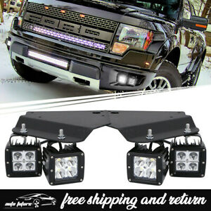 For 2010 2014 Ford F 150 Raptor Hidden Bumper Bracket 3 Led Fog Lights Pods