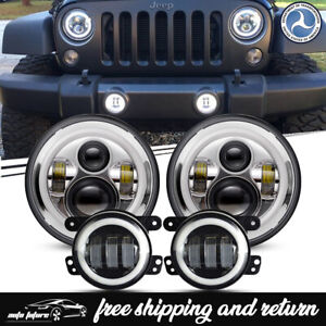 Fit 07 17 Jeep Wrangler Jk Halo Led Headlight drl Fog Light Lamp Combo Kit Lxe