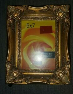Antique Gold Wood Frame With Flourish Corners 5 X 7