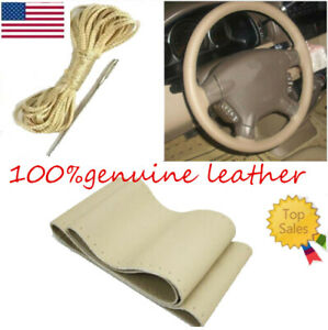 38cmcar Interior Beige Steering Wheel Cover Premium Genuine Leather Fit For Ford