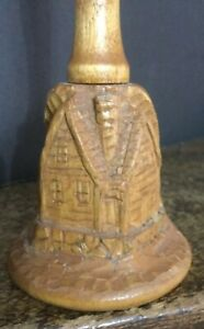 Hand Carved Wooden House Cabin Bell Christmas Ornament New House Warming Gift