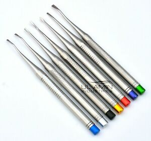 Set Of 7 Luxating Elevators Pdl Precise Tips Dental Surgical Veterinary Ce Iso