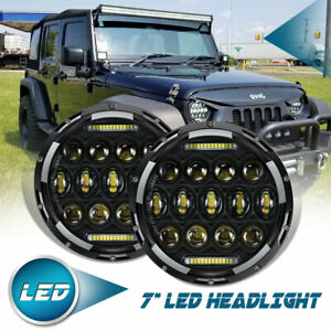 Pair 7 inch 150w Led Headlight Hi lo Beam Dot Drl For Jeep Wrangler Cj Jk Lxf