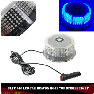 Blue 240led Car Rotating Round Beacon Roof Top Emergency Flash Strobe Lights 12v