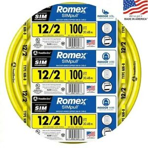 Southwire Romex Simpull 100 ft 12 2 Non metallic Wire by the roll
