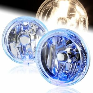 Universal 4 Round Blue Halo Chrome Housing Clear Lens Fog Driving Lights Lamp