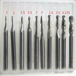1 3 175mm Shank Carbide Ball Nose End Mill Cnc Engraving Router Bit Set For Wood