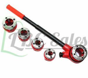 Ratchet Pipe Threader With 5 Dies 3 8 1 2 3 4 1 1 1 4 New Set