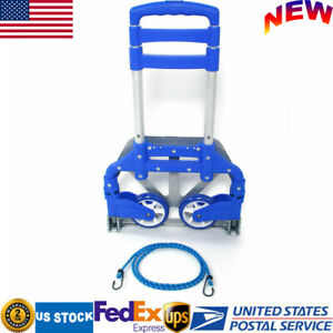 Portable Aluminium Folding Hand Cart Dolly Push Truck Collapsible Trolley Blue