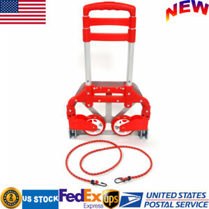 Red Portable Folding Hand Cart Dolly Push Truck Aluminium Collapsible Trolley Us