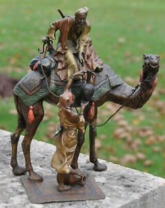 Vibrant Cold Painted Austrian Bronze By Franz Bergman Arabian Couple Marked