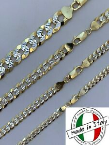 Cuban Link Chain 14k Gold amp; Solid 925 Silver Two Tone Diamond Cut ITALY 5 11mm $48.58