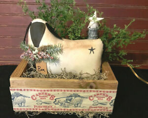 Rustic Primitive Sheep In Wooden Crate With Candlestick Lamp