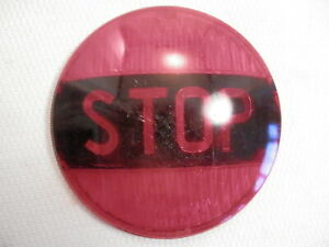 Vintage Red Glass Auto Lamp Chicago 9682 Stop Tail Light Lens 4 1 4 Diameter