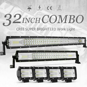 32 30inch Led Light Bar Combo 22in 4 Cree Pods Offroad Suv 4wd Atv Fog Jeep Us