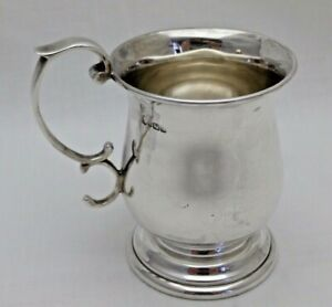 Vintage Solid Sterling Silver Bulbous Cup Or Mug On Stepped Foot Sheffield 1979