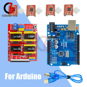 Uno R3 Board Cnc Shield V3 0 A4988 Driver Module Heatsink Kits For Arduino