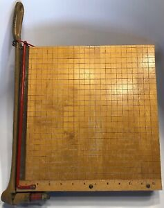 Vintage Ingento 12 Paper Cutter 1132 Maple Wood Cast Iron Handle Style B Usa