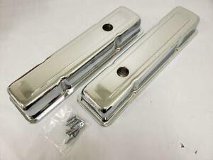 1958 1986 Small Block Chevy Short 2 5 8 Chrome Valve Covers 58 86 Sbc 283 350