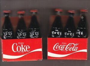12 MINI COCA-COLA BOTTLE 3 INCHS TALL  TWO DIFFERENT COUNTRY 6 PACKS