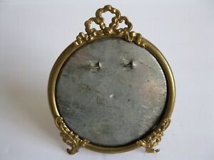 Antique Victorian Fancy Small Round Repousse Brass Picture Frame