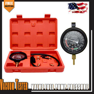 Carburetor Fuel Pump Pressure Vacuum Tester Gauge Kit Universal For Cars Trucks