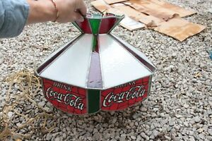 Vintage Drink COCA-COLA Leaded Glass Hanging Lamp Shade Light Stained Glass A1