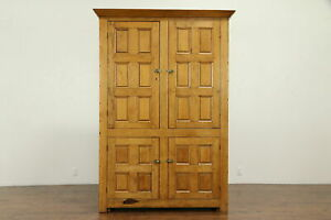 Country Pine Antique Linen Press Cabinet Armoire Or Pantry Cupboard 31948