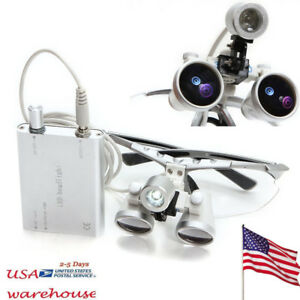 3 5 X 420mm Dental Silver Surgical Binocular Loupes With Led Head Light Us Ship