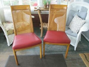 2 Vintage Mid Century Danish Modern Drexel Furniture High Back Cane Wood Chairs