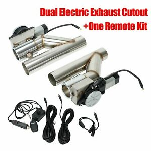 3 Dual Electric Exhaust Cutout Downpipe Dump Bypass Valve W Switch Control Kit