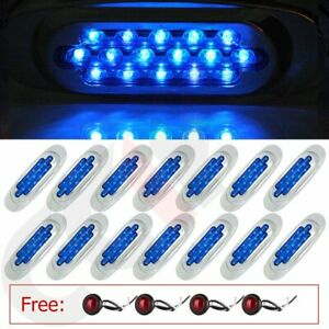 14x Sealed Blue Side Marker 16led For Heavy Trunk Free Red 1 Mini Round Light