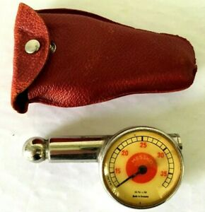 Vintage Porsche 356 Messko Red Dot Tire Pressure Gauge With Red Leather Case Vg