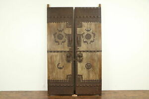 Pair Of Antique Architectural Salvage Chinese Temple Doors Iron Mounts 31992