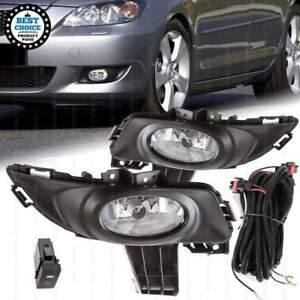 Fit 2004 2006 Mazda 3 Sedan Clear Lens Fog Lights With Bezel Wires Bulbs Switch