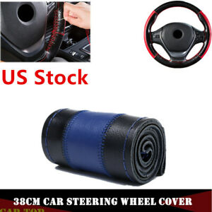Us Stock 38cm Diy Car Steering Wheel Cover Genuine Leather Anti Slip Black Blue