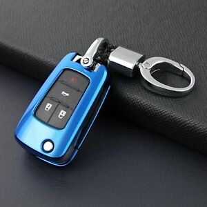 Flip Key Fob Case Cover Holder Chain Ring For Chevrolet Buick Accessories Blue