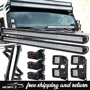 For 07 17 Jeep Jk Pair 52in Led Light Bar dual Row Roof a pillar Mount Bracket