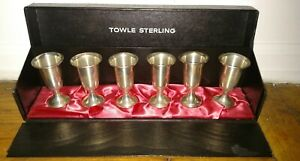 Vintage Set Of 6 Towle Sterling Silver Weighted Cordials With Box Great For Gift