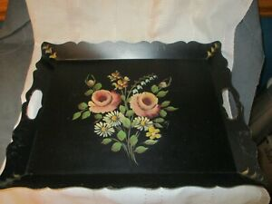 Antique Vintage Rectangular Toleware Tray Hand Painted Flowers W Handles