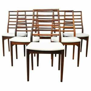 Set Six Dyrlund Rosewood Dining Chairs 6 Danish Modern Mid Century Gray Leather