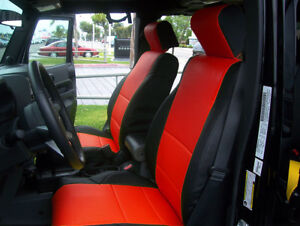 Jeep Wrangler Jk 2007 4doors Black red S leather Front rear Seat Covers