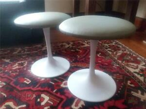 1 Mid Century Modern Tulip Base Stool Knoll Style Fresh Italian Leather